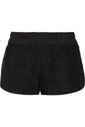 10 Crosby By Derek Lam Broderie Anglaise Cotton And Silk Blend Shorts Black