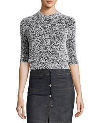 3 4 Sleeve Cropped Pilled Sweater Black Multicolor