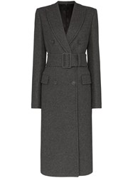 Helmut Lang Belted Double Breasted Coat Grey
