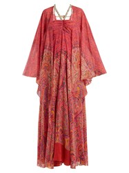 Etro Paisley Print Embellished Silk Georgette Gown Pink Print