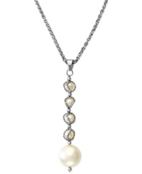 Effy Collection Pearl Lace By Effy Cultured Freshwater Pearl Dangling Cage Pendant Necklace In Sterling Silver 4 1 2Mm