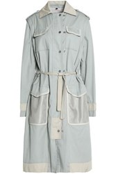 Belstaff Leather Trimmed Cotton Trench Coat Sky Blue