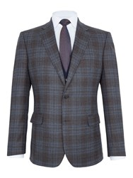 Paul Costelloe Men's Mallory Checked Wool Slim Fit Blazer Brown