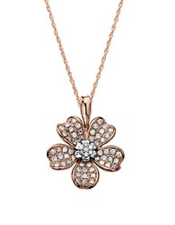 Lord And Taylor 14Kt. Rose Gold Diamond Flower Pendant Necklace