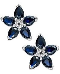 Macy's 10K White Gold Earrings Sapphire 2 Ct. T.W. And Diamond Accent Flower Earrings