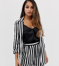 Asos Design Petite Relaxed Suit Blazer In Bold Mono Stripe Multi