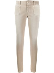 Closed Low Rise Skinny Trousers Neutrals