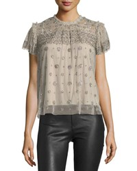 Needle And Thread Andromeda High Neck Embellished Tulle Top Gray