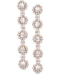 Jewel Badgley Mischka Crystal Flower Linear Drop Earrings Rose Gold