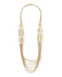 Lafayette 148 New York Marble Block Multi Strand Necklace Parchment
