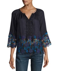 Elie Tahari Mariella Linen Blouse W Embroidered Lace Trim Navy