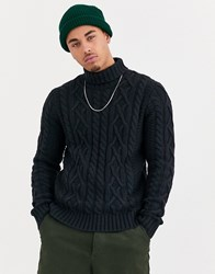 Only And Sons Knitted Cable Roll Neck Jumper In Navy
