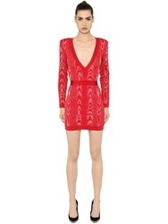 Balmain V Neck Jacquard Mini Dress