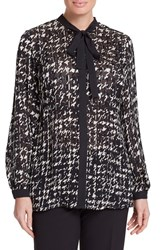 Persona By Marina Rinaldi Plus Size Women's 'Fecola' Print Tie Neck Blouse Black