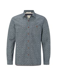 White Stuff Men's Yasur Chambray Print Long Sleeve Shirt Chambray