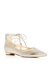 Ivanka Trump Tropica Metallic Lace Up Pointed Toe Ballet Flats Gold