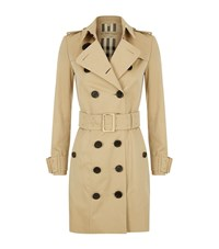 Burberry Oversized Buckle Cotton Gabardine Trench Coat Female Camel