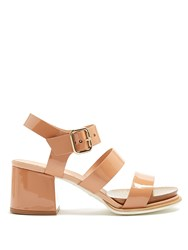 Tod's Patent Leather Block Heel Sandals Nude