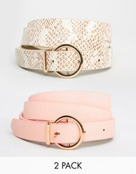 Asos 2 Pack Round Buckle Pastel Snake And Plain Belt Multi