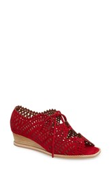 Jeffrey Campbell Espejo Lace Up Wedge Red Suede
