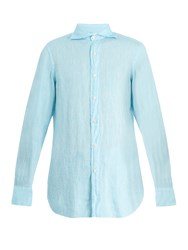Finamore Gaeta Spread Collar Linen Shirt Blue
