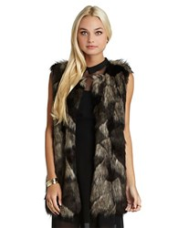 Bcbgeneration Faux Fur Vest Black Multi