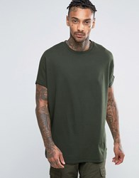 Asos Super Oversized T Shirt With Roll Sleeves In Green Army Green