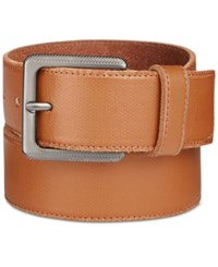 Calvin Klein Men's Canvas Printed Leather Belt Whiskey