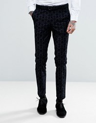 Noose And Monkey Super Skinny Suit Trousers With Floral Flocking Navy