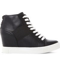 Steve Madden Lussious Lace Up Wedge Trainers Black Fabric
