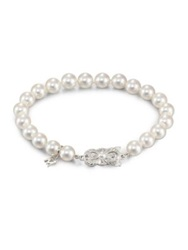 Mikimoto 7Mm 7.5Mm White Cultured Akoya Pearl And 18K White Gold Strand Bracelet
