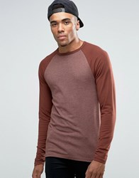 Asos Muscle Long Sleeve T Shirt With Contrast Raglan Brown