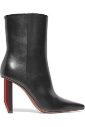 Vetements Glossed Leather Ankle Boots Black