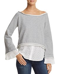 Aqua Layered Look Eyelet Detail Sweatshirt 100 Exclusive Gray White