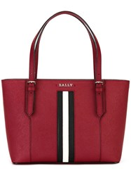 Bally Striped Trim Tote Red