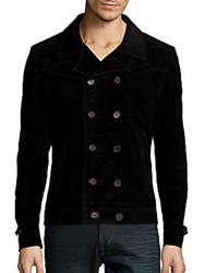 The Kooples Double Breasted Leather Jacket Black