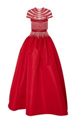 Naeem Khan Fringe Beaded Ball Gown Red