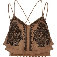 River Island Womens Brown Embroidered Cami Crop Top