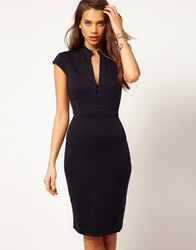 Asos Pencil Dress With Plunge Neck Navy Blue