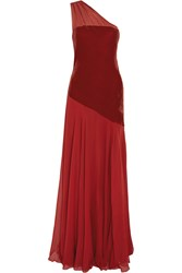 Amanda Wakeley One Shoulder Velvet And Silk Gown Red