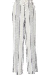 Joie Esty Striped Silk Wide Leg Pants White