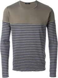 Roberto Collina Striped Panel Longsleeved T Shirt Grey
