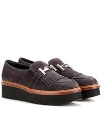 Tod's Suede Platform Loafers Grey