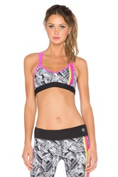 Trina Turk Harbour Island Sports Bra Black And White