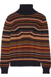 Prada Striped Cable Knit Wool Turtleneck Sweater Navy