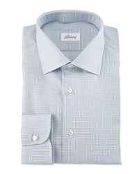 Brioni Textured Check Long Sleeve Sport Shirt Light Blue