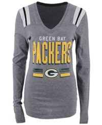 5Th And Ocean Women's Green Bay Packers Free Kick Long Sleeve T Shirt Gray