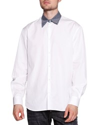 Dsquared2 Polka Dot Collar Poplin Shirt White