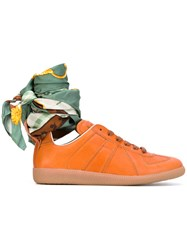 Maison Martin Margiela Replica Sneakers With Ankle Tie Women Silk Calf Leather Leather Rubber 39 Yellow Orange
