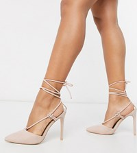 Public Desire Wide Fit Bardot Tie Up Heeled Shoes In Blush Pink
